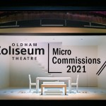 Oldham Coliseum Micro Commissions 2021. Background photograph - set of Four Minutes Twelve Seconds, designed by Anna Reid. Photography by Joel Chester Fildes