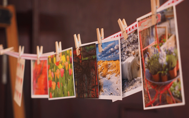 Postcards on a washing line