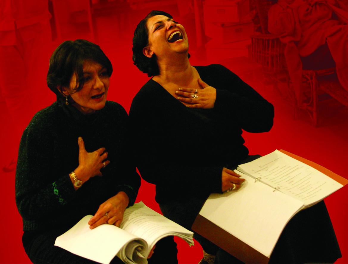 Two women enjoying reading a play